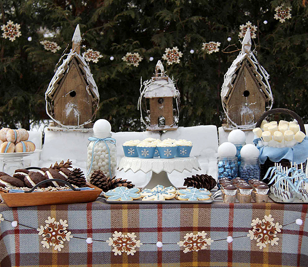 dessert table party sulla neve