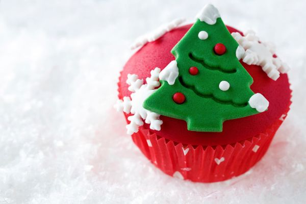 red decorative Christmas cupcake